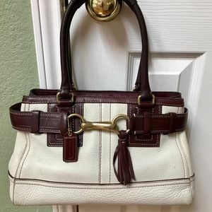 Beautiful Coach Bag (Ivory & Brown)